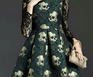 dress, beautiful, and skull image