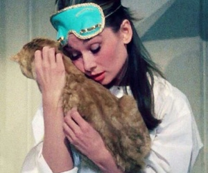 audrey hepburn, cat, and Breakfast at Tiffany's image