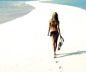 beach, model, and sea image