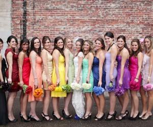 wedding, rainbow, and dress image