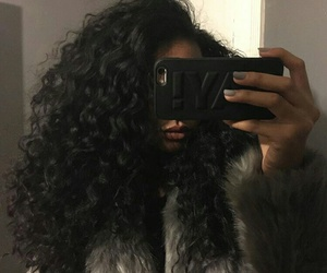 grey nails, long curly black hair, and big curly black hair image
