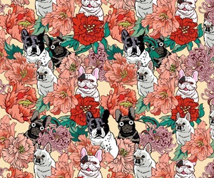 background, dog, and flowers image