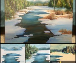 acrylic, painting, and snow image