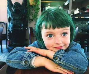 girl, green, and kids image