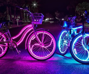 night, bike, and blue image