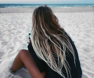 beach, girl, and hair image