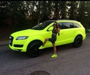 car, girl, and neon image