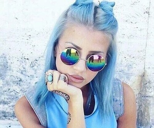 blue, hair, and sunglasses image
