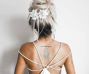 fashhion, hairstyle, and white dress image