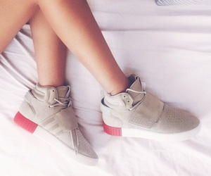 adidas, bed, and sneakers image