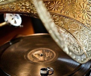 gold, record player, and great gatsby image