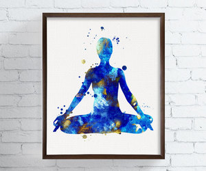 art, watercolor, and yoga image
