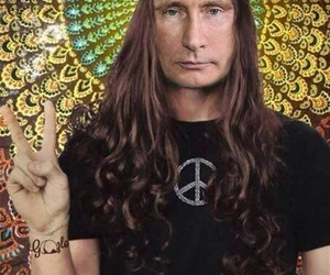 putin, hippie, and peace image