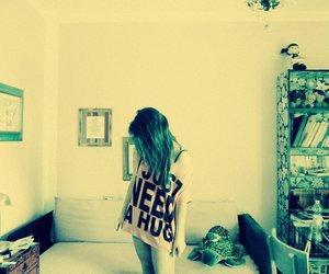 bedroom, girl, and hug image