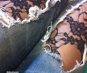 ripped jeans, denim, and grunge image