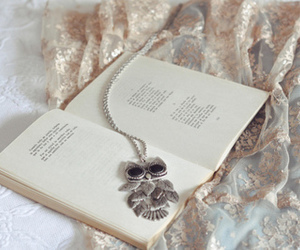 book, owl, and necklace image