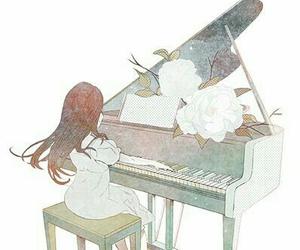 piano, music, and anime image