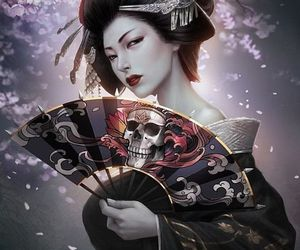 geisha and skull image