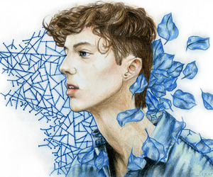 troye sivan, blue, and art image