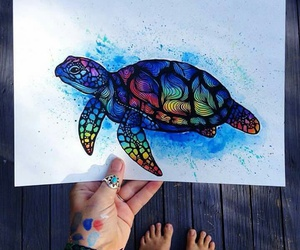 art, colors, and turtle image