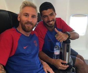 messi, luis suarez, and Barca image
