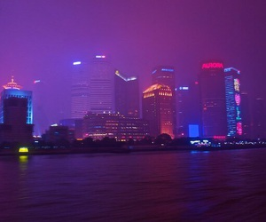 city, purple, and light image