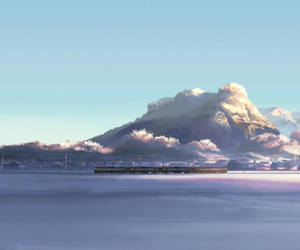 anime, sky, and train image