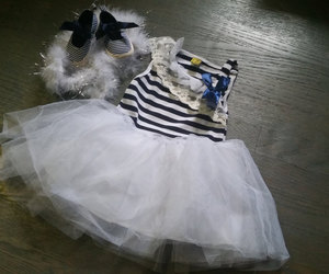 birthday dress, baby girl dress, and soft sole shoes image
