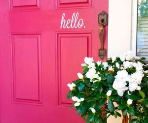 pink, door, and hello image