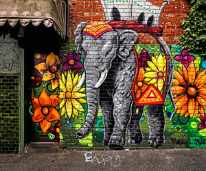 art, street art, and elephant image