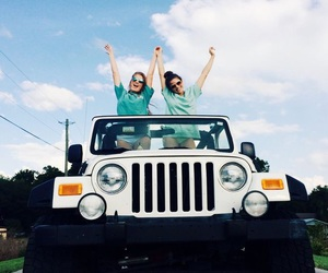 jeep, car, and girls image