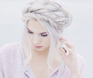 hair, braid, and white image
