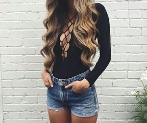 black, curly hair, and blonde image