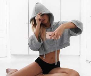 blonde, fitness, and iphone image