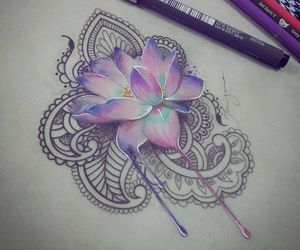 flowers, drawing, and colors image
