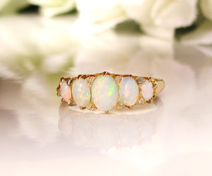 etsy, october birthstone, and antique wedding ring image