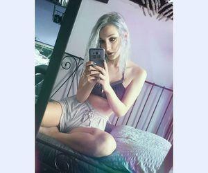 grey hair, silver hair, and summer image