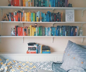 book, bedroom, and colors image