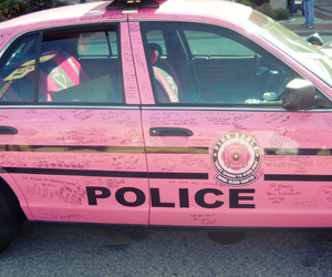 pink, police, and car image