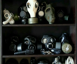 black and white, gas mask, and mask image