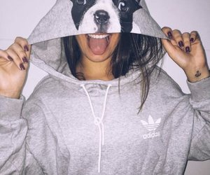 dog, girl, and adidas image