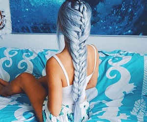 blue, woman, and cabelo image