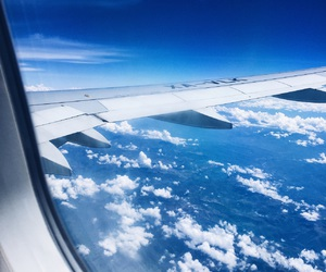 airplane, escape, and sky image