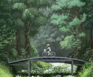bike, bridge, and forest image