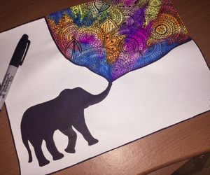 colors, elephant, and zentangle art image