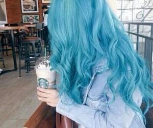 hair, blue, and starbucks image