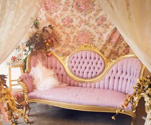 pink, vintage, and couch image
