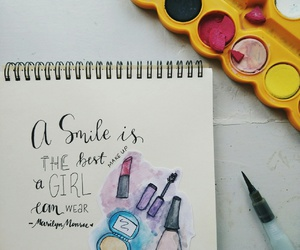 girly, hand lettering, and make up image