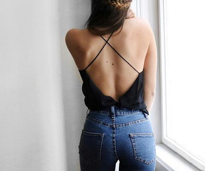 back, braid, and jeans image