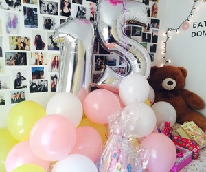 ballons, birthday, and gifts image